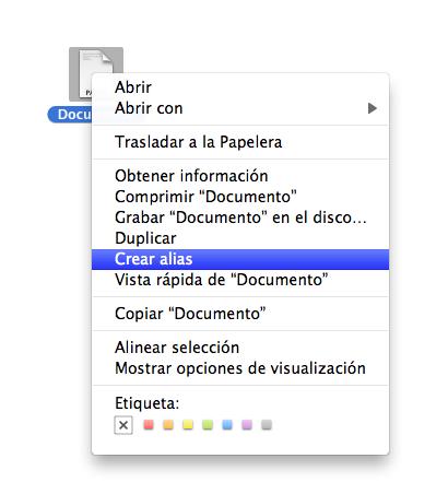 crear acceso directo escritorio mac os x