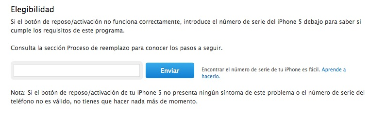 Programa de reemplazo del botón de reposo/activación del iPhone 5