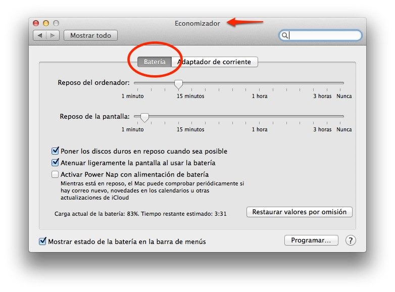 ahorrar bateria macbook