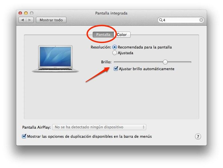 brillo pantalla macbook