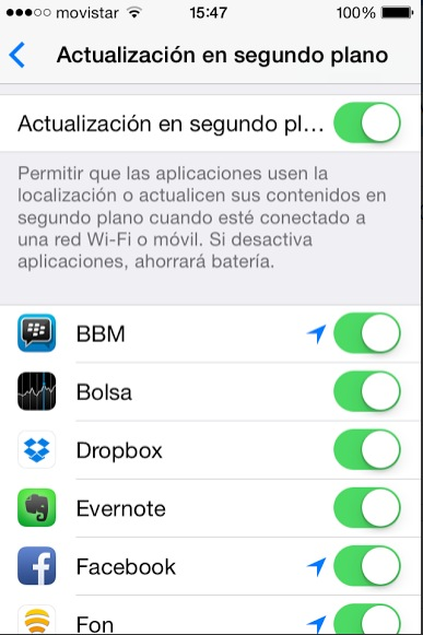 actualziacion segundo plano iphone