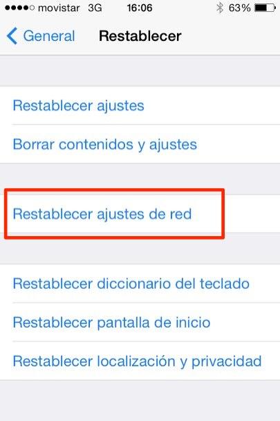 restablecer ajustes red