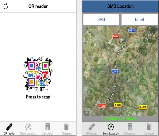 Quick QR reader and location Sharing