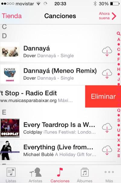 eliminar canciones en el ipad o iphone
