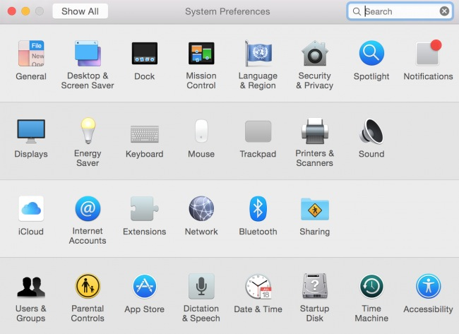 preferencias del sistema OS X Yosemite