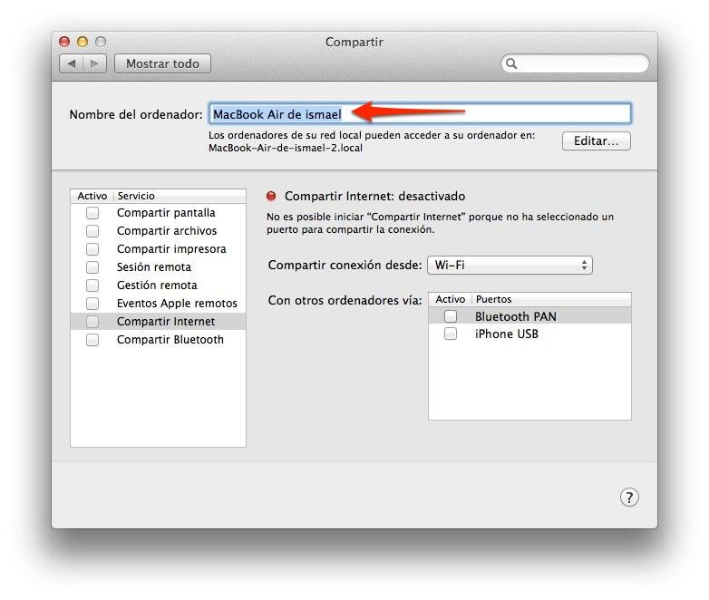 Como cambiar el nombre a tu Mac 2
