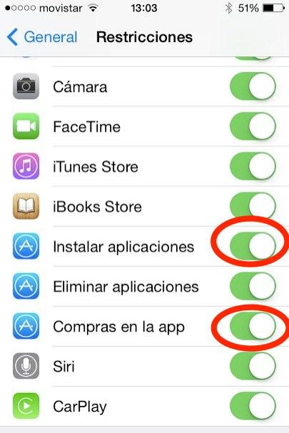 Como evitar que se descarguen y compren aplicaciones en tu iPad o iPhone 2
