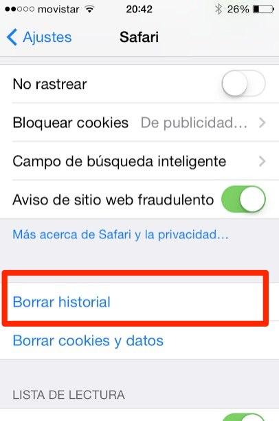 borrar historial safari  ipad iphone