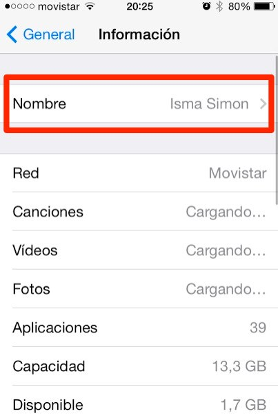 cambiar de nombre ipad o iphone 2