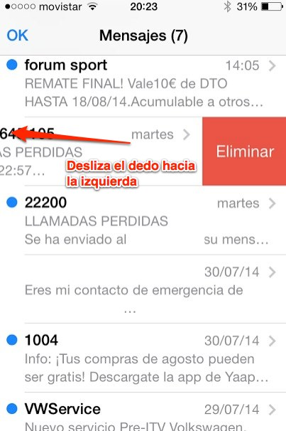 eliminar sms Iphone