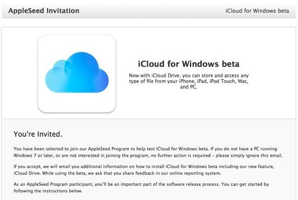 invitacion icloud windows