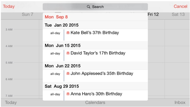 calendario modo horizontal iphone 6