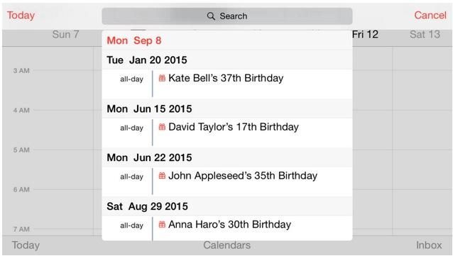 calendario modo horizontal iphone 6