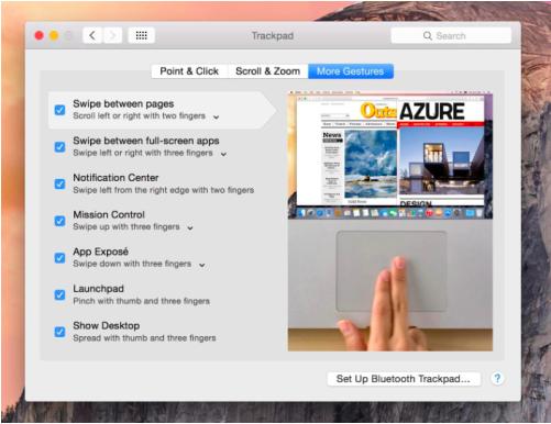 interfaz trackpad os x Yosemite
