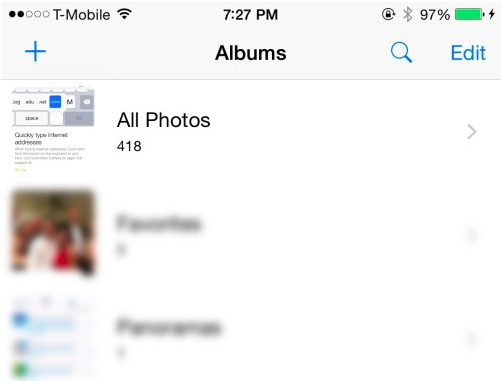 albun fotos ios 8.1 beta