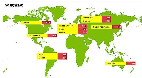 mac infectados por iworm en el mundo
