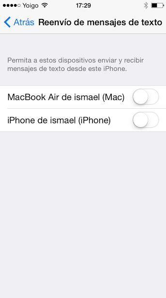 envio sms desde mac o ipad