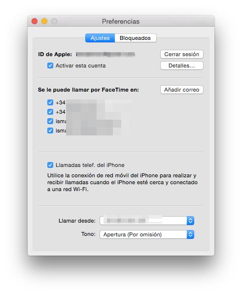 llamadas desde el mac