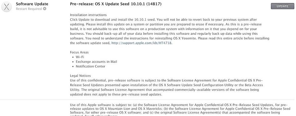 beta 1 OS X 10.1.1