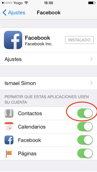 añadir foto facebook a contactos