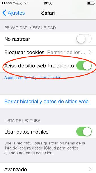 seguridad safari ipad iphone
