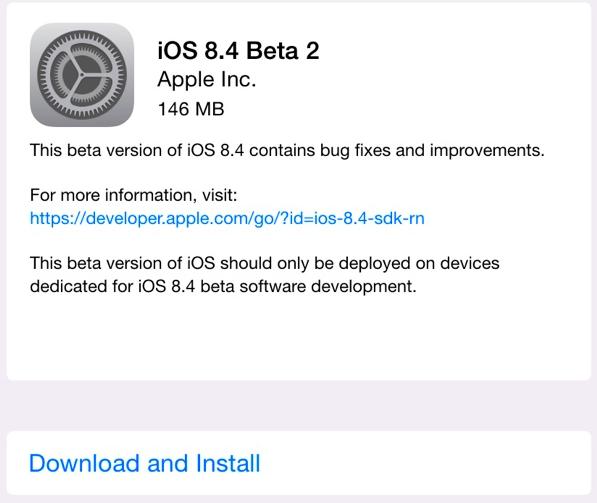 beta 2 ios 8.4