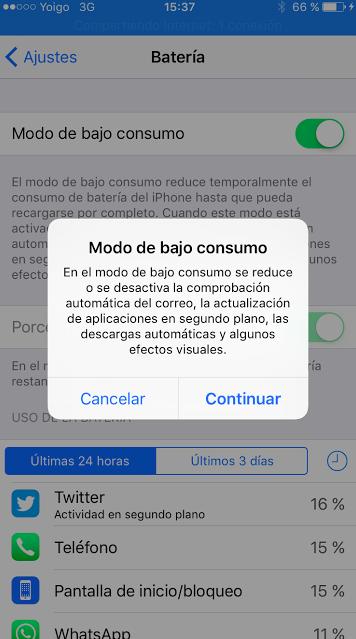 modo ahorro bateria iphone ipad