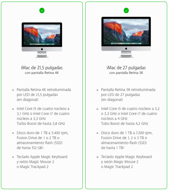 características iMac 4k 5k