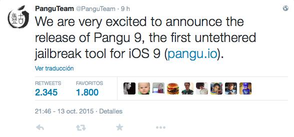 tweet pangu jailbreak iOS 9
