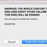 """Le daremos a """"erase then create the disk"""", es decir... format el USB y volcará OS X El Capitan"""
