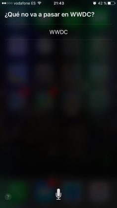 Contestaciones de SIRI sobre la WWDC 2016