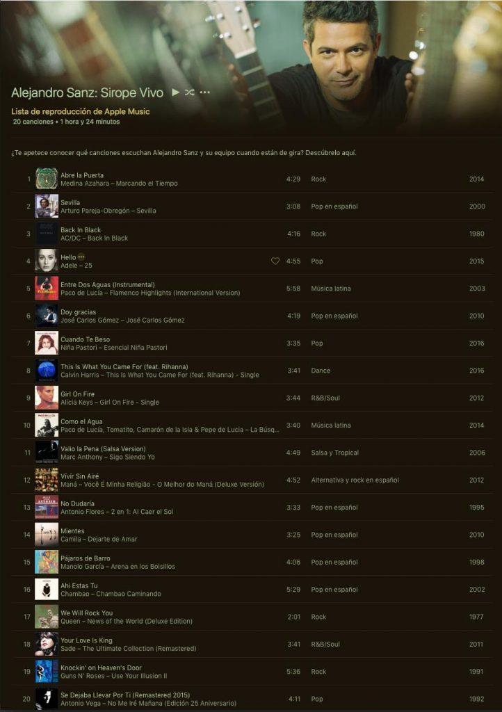Listado completo hasta la fecha de las canciones de Alejandro Sanz en su Gira Sirope 2016