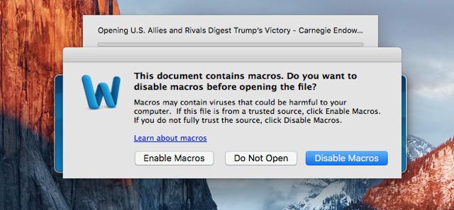 Malware en Word para macOS sierra