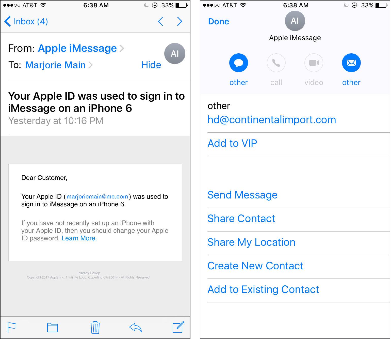Phishing apple Mensajes