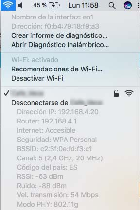 wifi Mac teclas