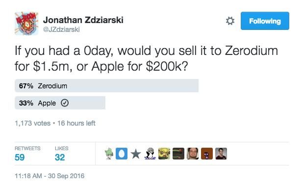 encuesta de Twitter hecha por Jonathan Zdziarski