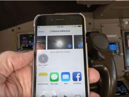 Un piloto envía fotos usando Airdrop