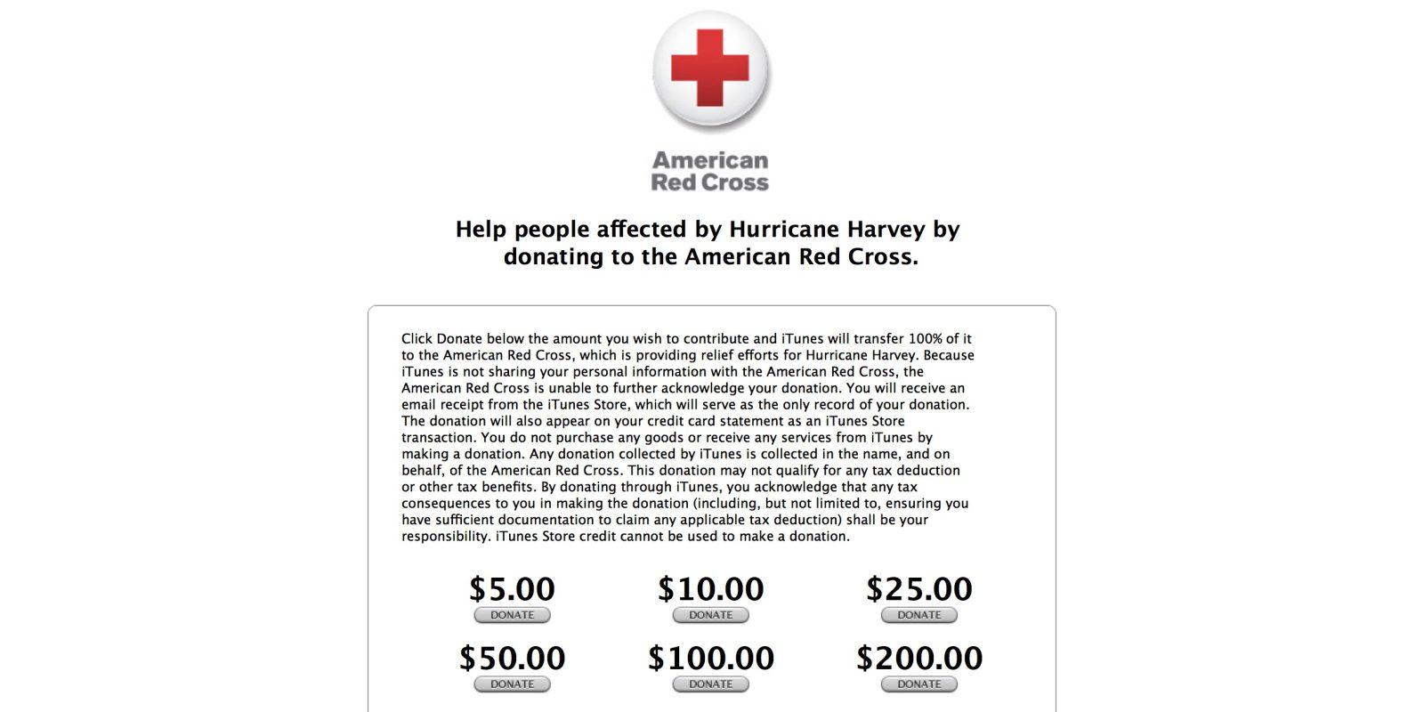 Huracán Harvey, Apple y Cruz Roja