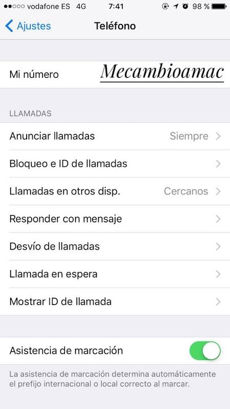 Anunciar llamadas ocultas en el iPhone