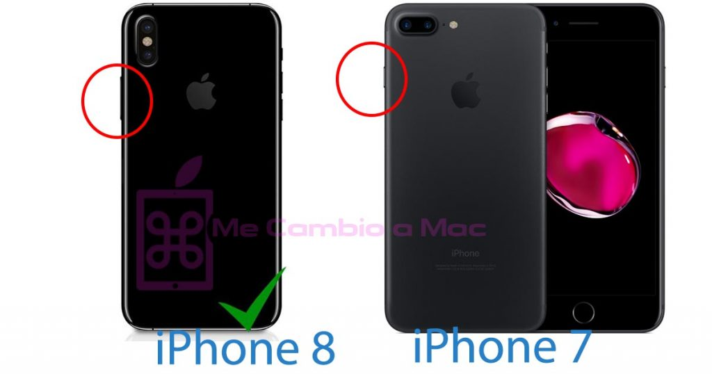 Comparativa botón power iPhone 8