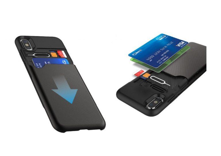 Funda iPhone X con tapa secreta para tarjetas de KHOMO