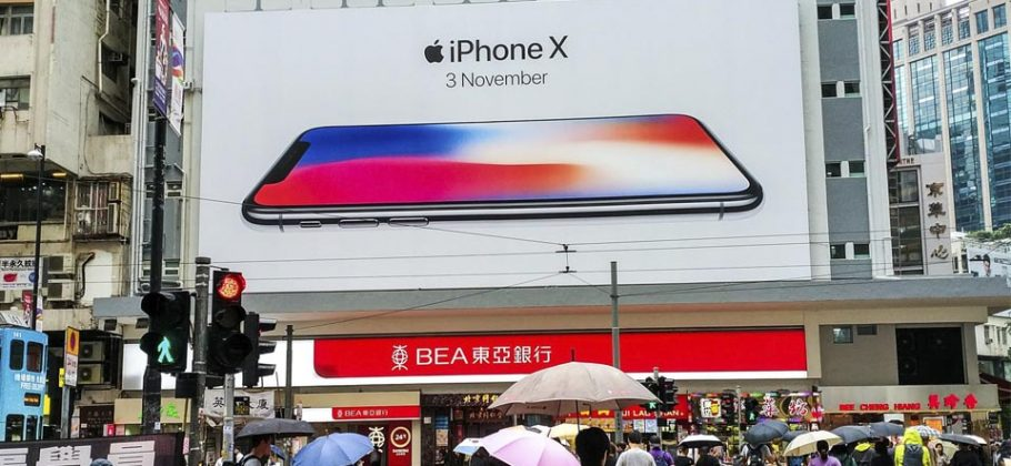 Cartel iPhone X en Hong Kong