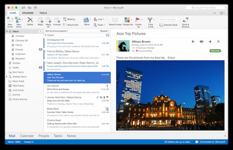 Outlook version actual