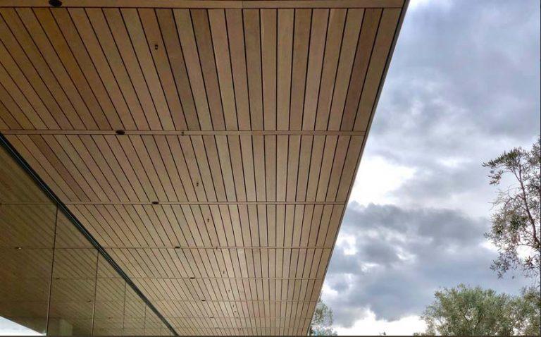Detalle del techado y el acristala miento del Centro de Visitantes del Apple Park (foto: Tyler Fox)