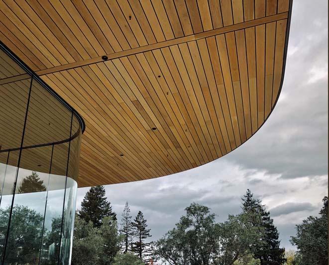 Al igual que en el Apple Park, también hay lunas curvas en el Centro de Visitantes (foto: Tyler Fox)