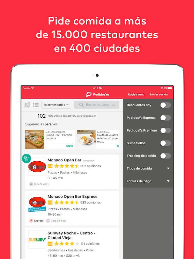PedidosYa - app para iPad