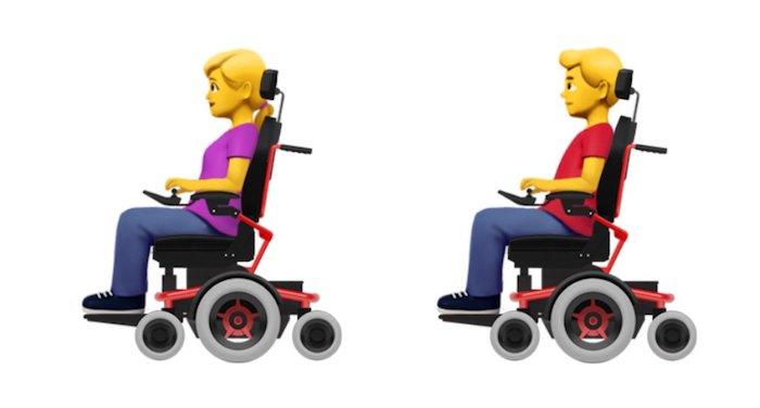 Emoji Apple Persona en silla de ruedas elécrica