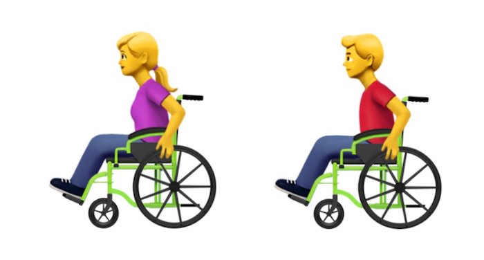 Emoji Apple Persona en silla de ruedas manual