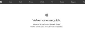 Cartel Apple Volvemos enseguida en Apple Store