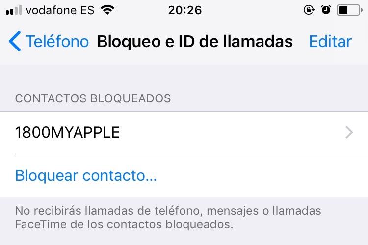 bloquear llamadas iPhone 2